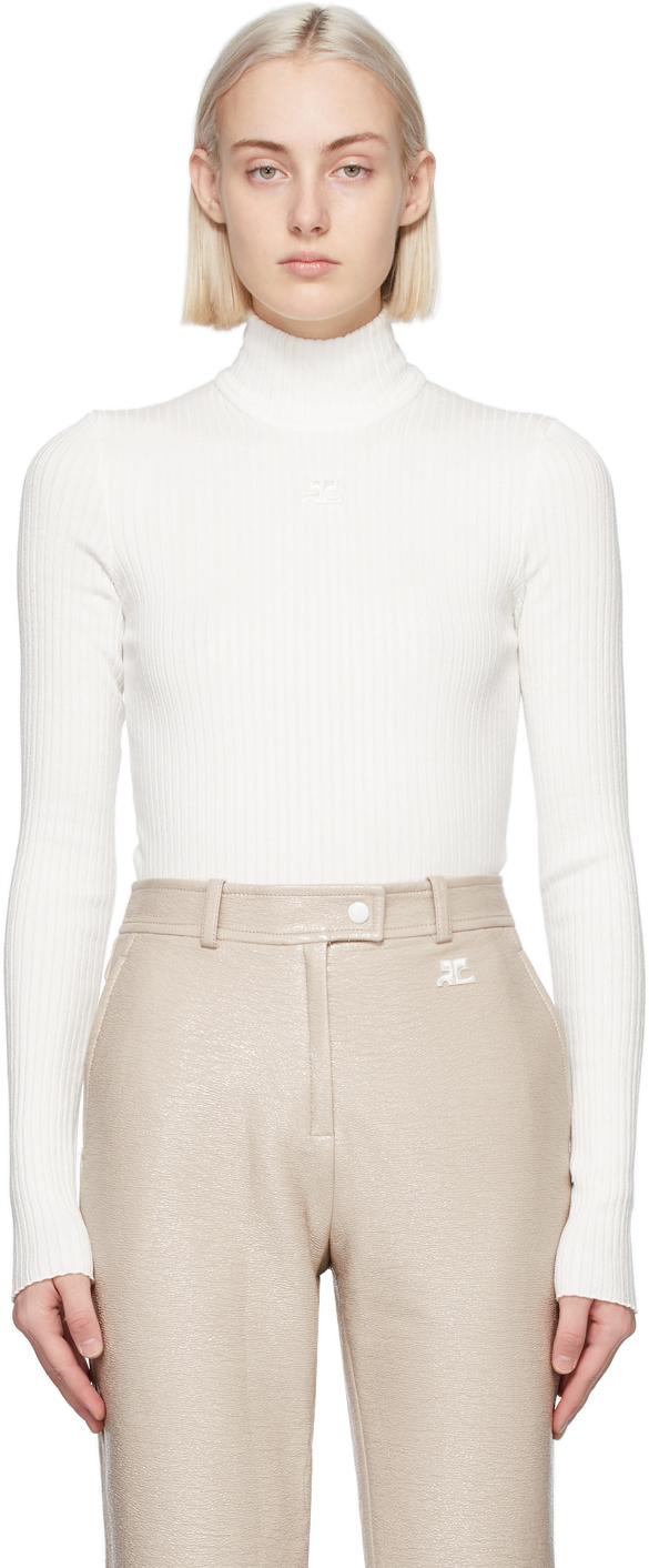 White Rib Knit Turtleneck