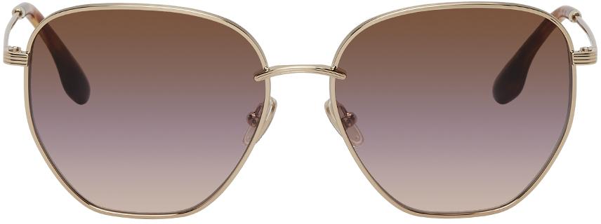 Victoria Beckham Gold Square Gradient Sunglasses