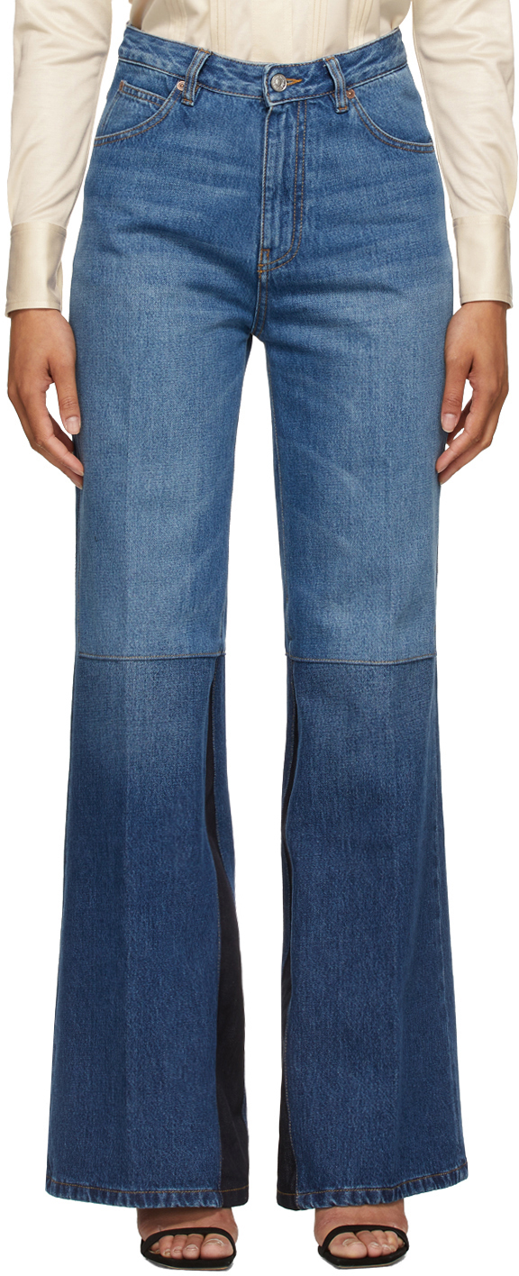 Blue Patchwork Flare Jeans