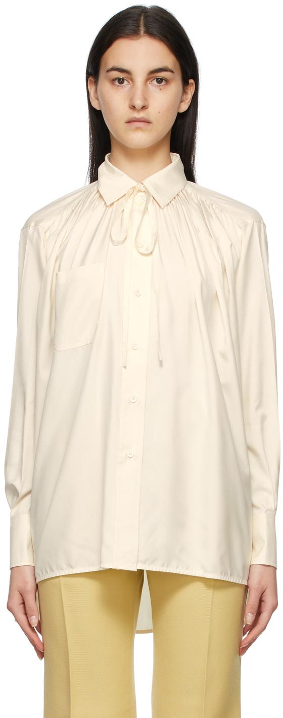 Off-White Silk Neck Tie Shirt