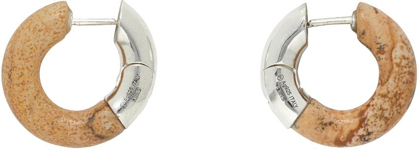 Bottega Veneta 银色 & 驼色 Half Stone 耳环