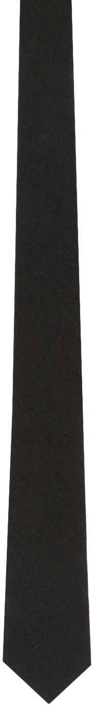 Bottega Veneta 黑色 Pala 羊毛人字纹领带
