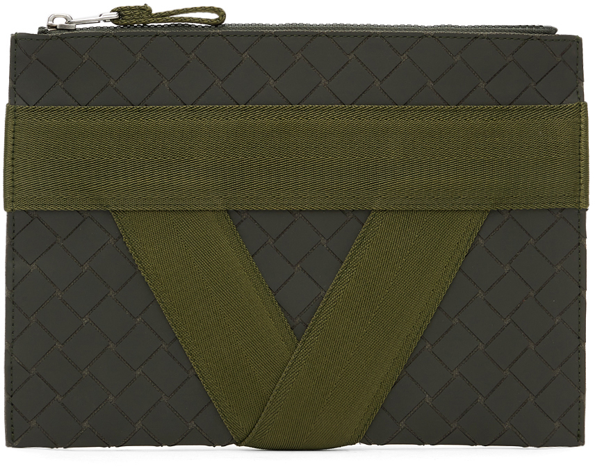 Bottega Veneta 军绿色橡胶贴花文件袋