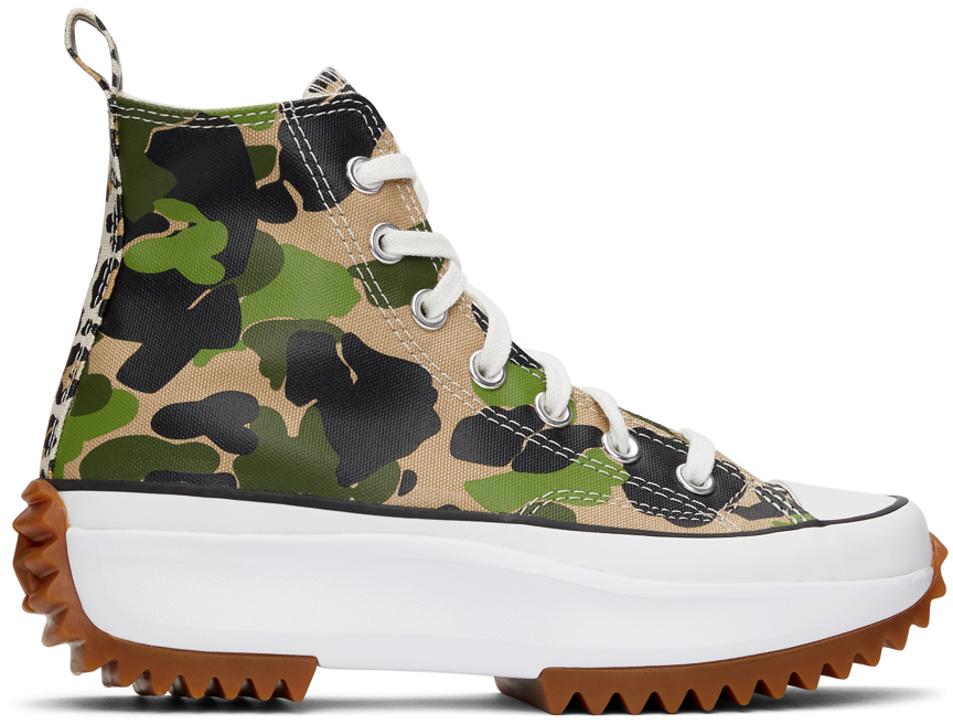 Beige Camouflage Run Star Hike High Sneakers