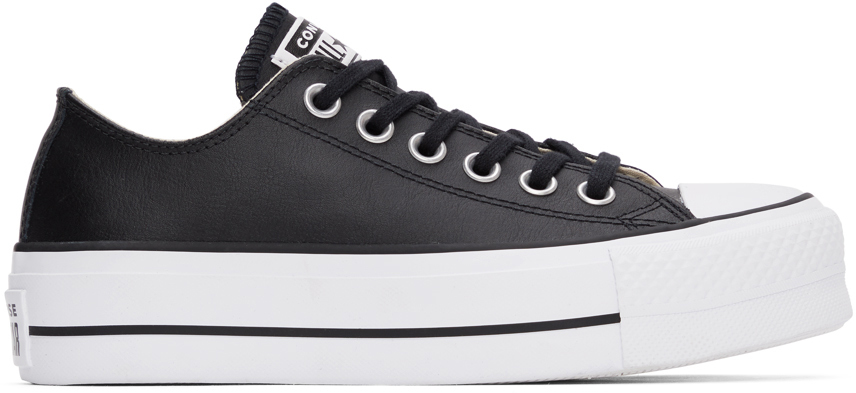 Black Leather Chuck Taylor All Start Lift Low Sneakers