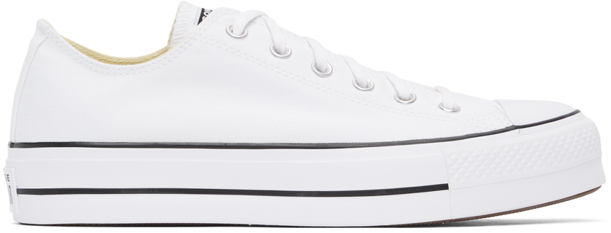 White Leather Chuck Taylor All Star Lift Low Sneakers
