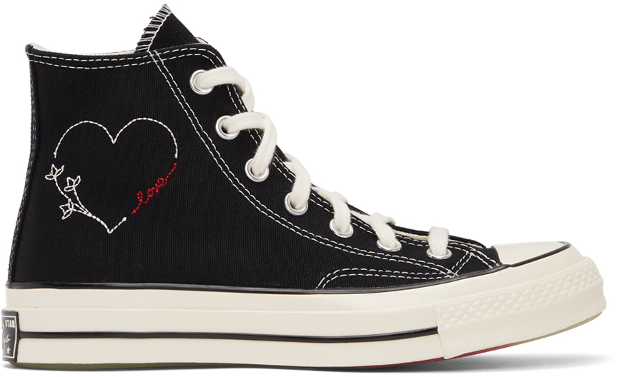 Black 'Made With Love' Chuck 70 Hi Sneakers