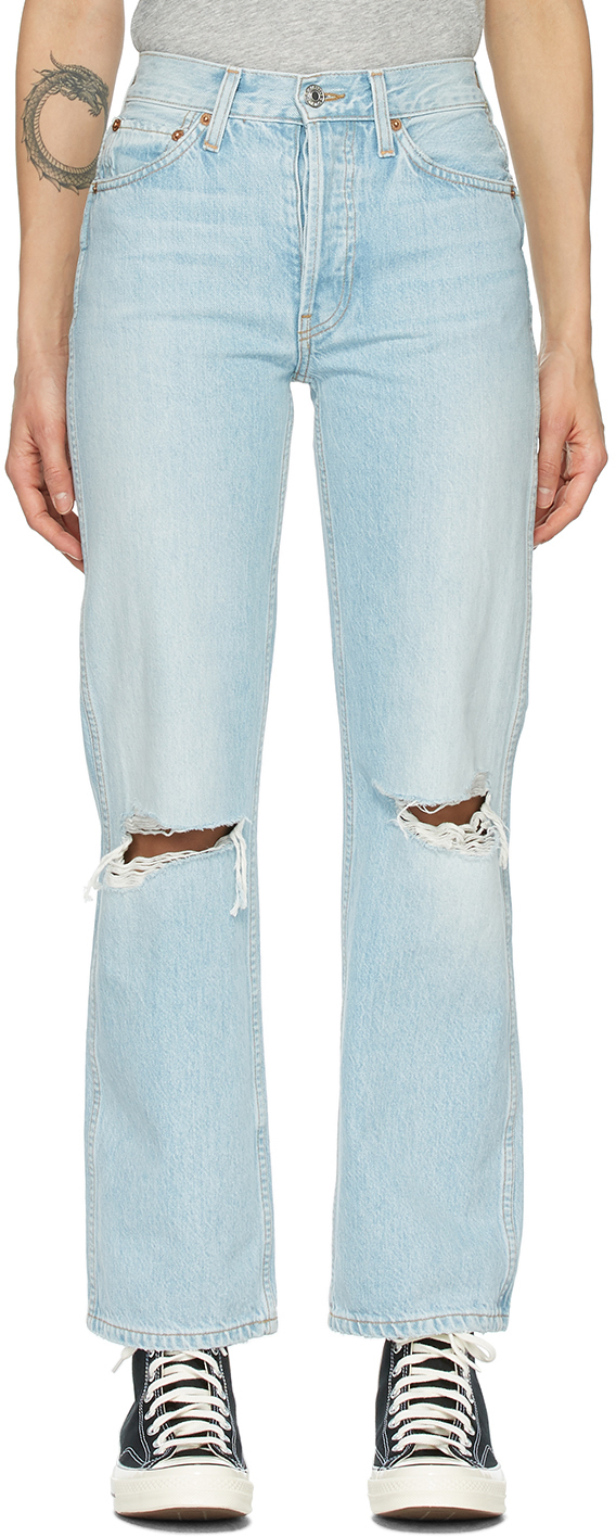Blue Distressed 90s High Rise Loose Jeans