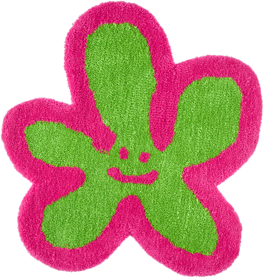 Pink & Green Flower Logo Rug