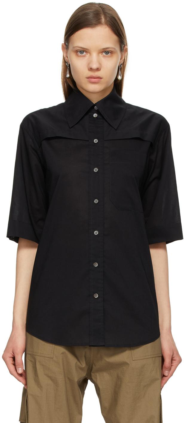 Black Batiste Short Sleeve Shirt