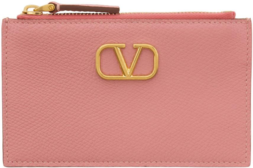 Valentino Garavani 粉色 VLogo 拉链卡包