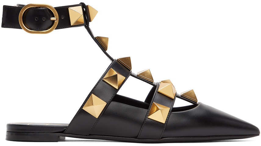 Valentino Garavani Black Leather Roman Stud Ballet Flats
