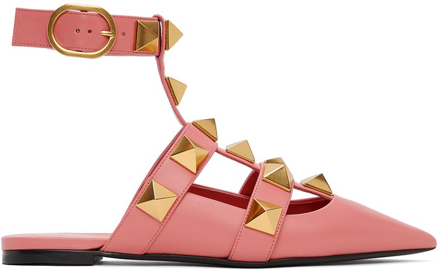 Valentino Garavani Pink Leather Roman Stud Ballet Flats