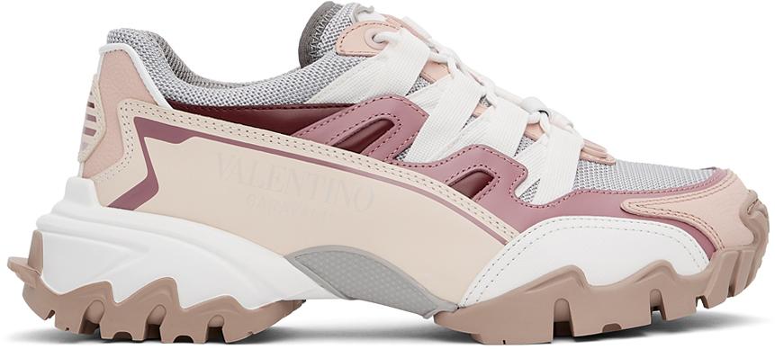 Valentino Garavani Grey & Pink VLogo Climbers Sneakers
