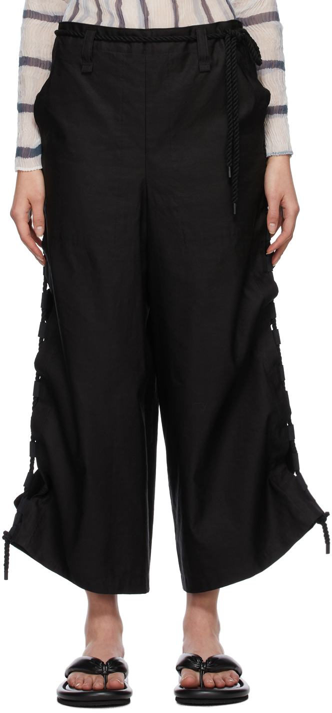 Black Temporary Room Solid Pants