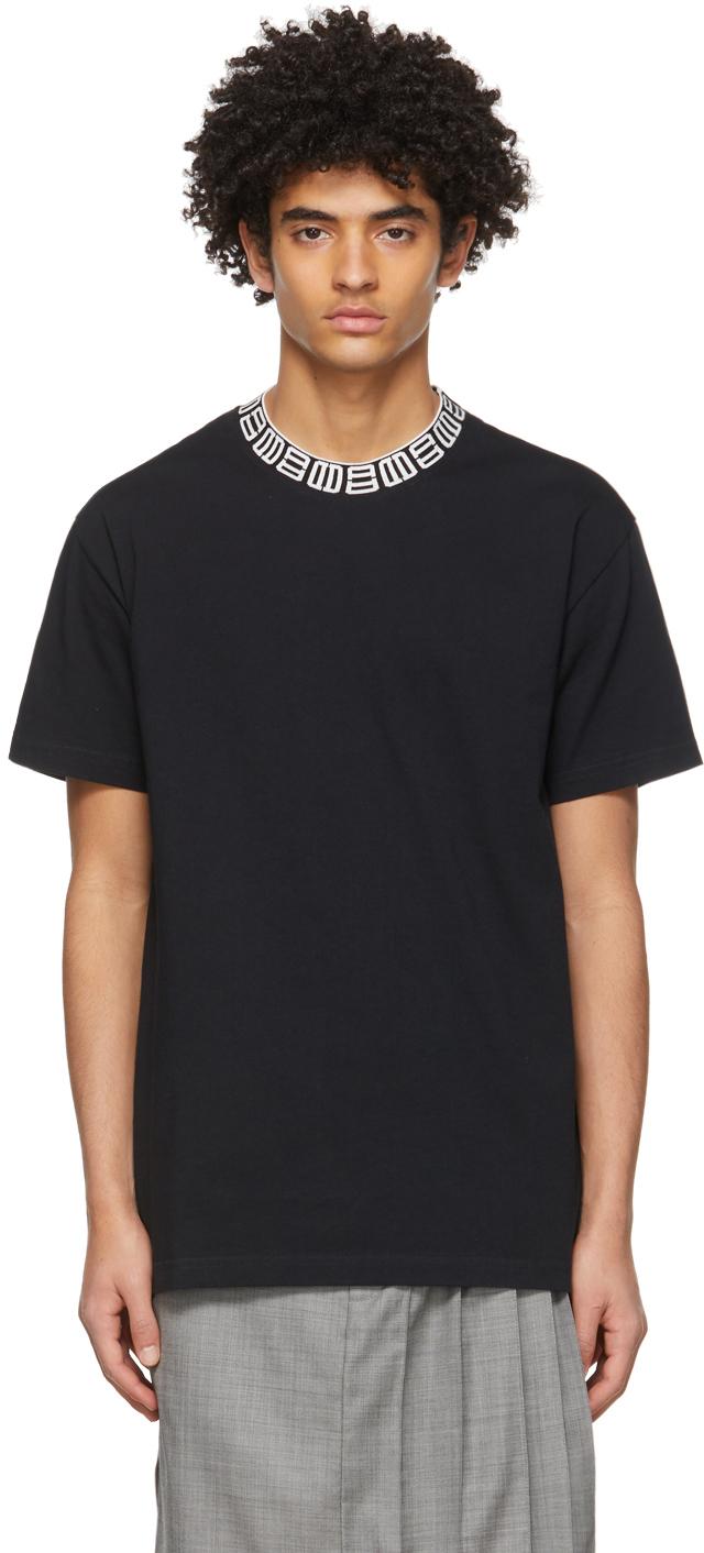 Black Monogram Rib Collar T-Shirt