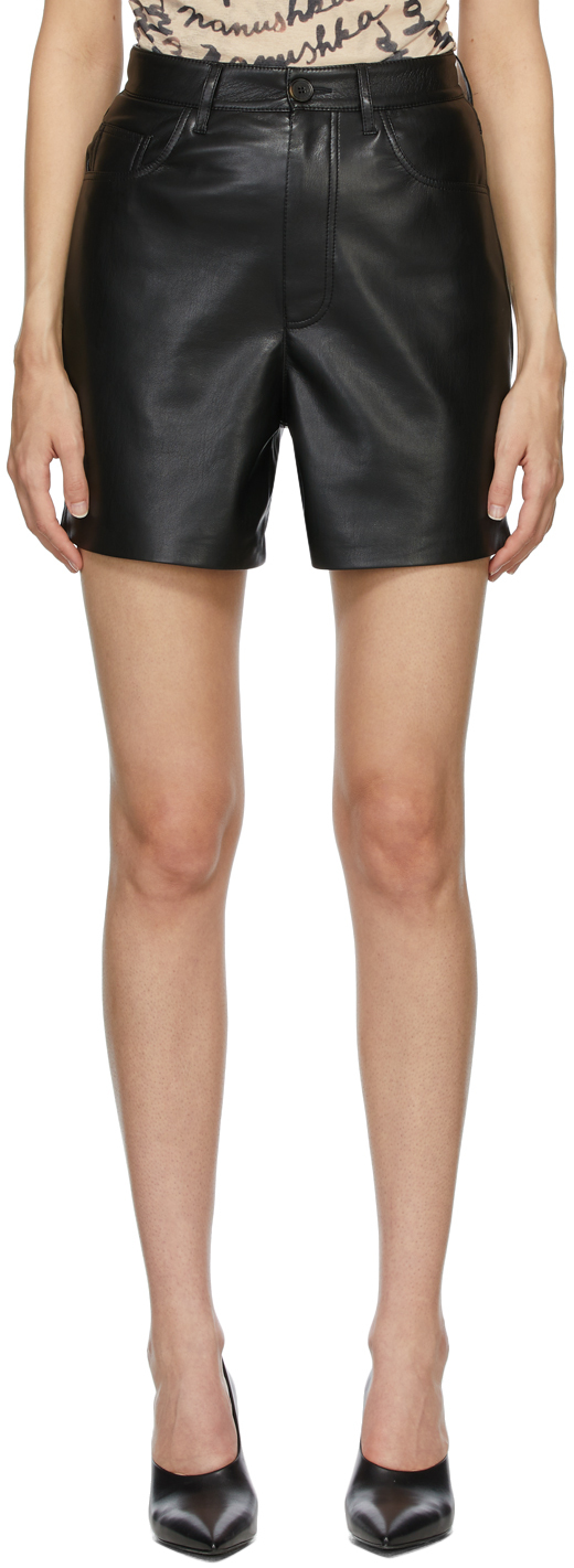Black Vegan Leather Leana Shorts