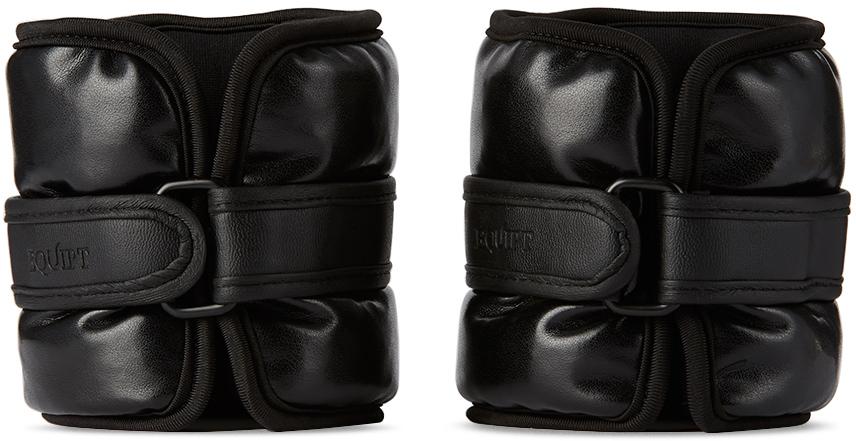 Black Vegan Leather UWrap Weighted Bangles