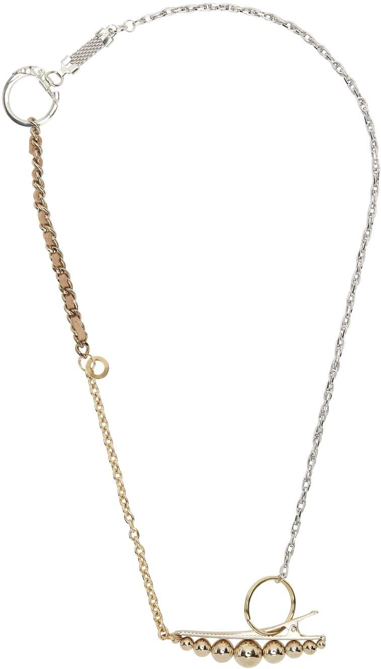Gold & Silver Materialmix Hair Pin Necklace