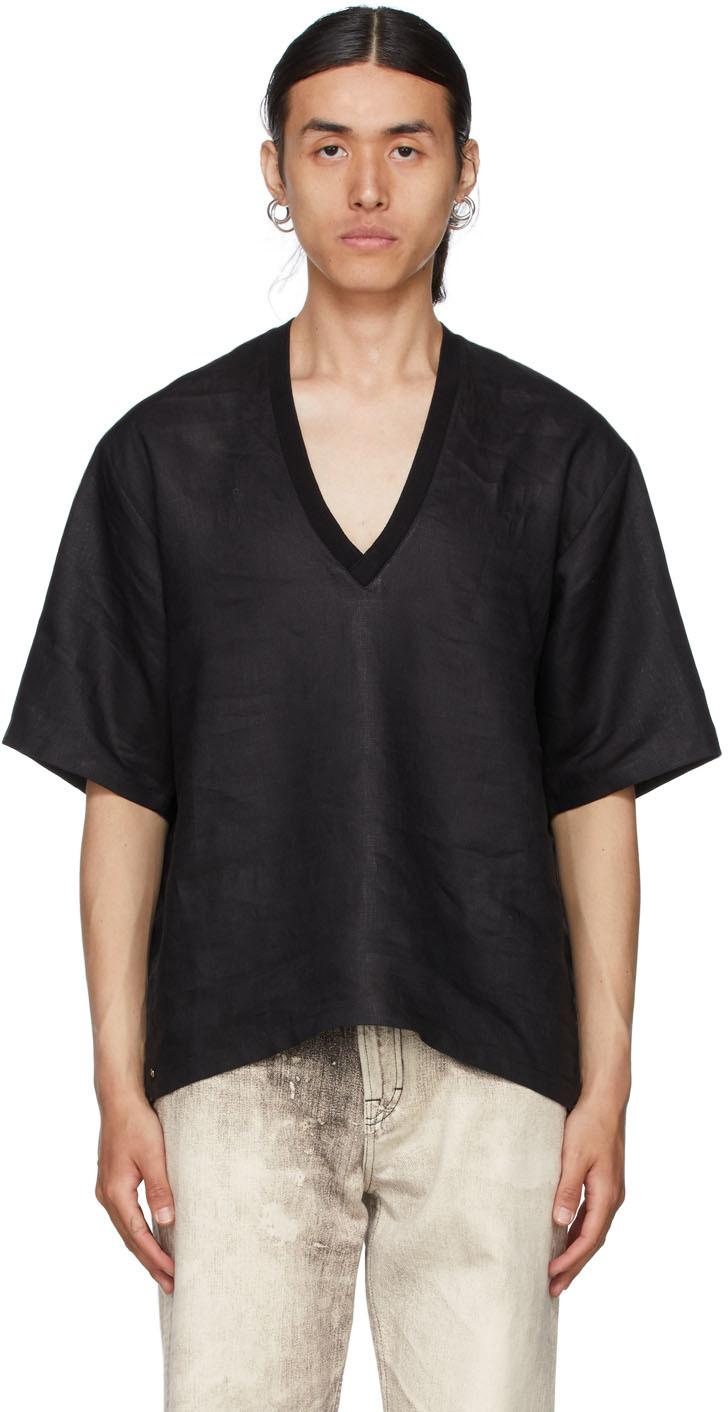 Black Linen V-Neck T-Shirt