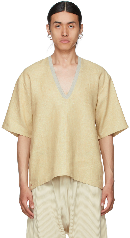 Yellow Linen V-Neck T-Shirt