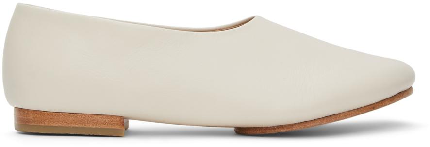 Off-White Mat Ballerina Flats
