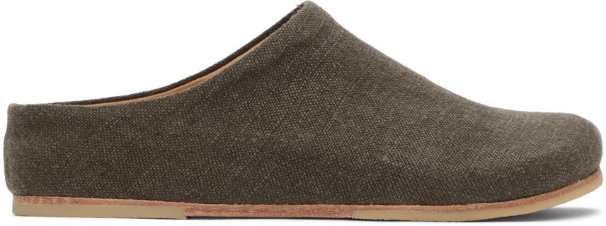 Grey Canvas New Mono Slippers
