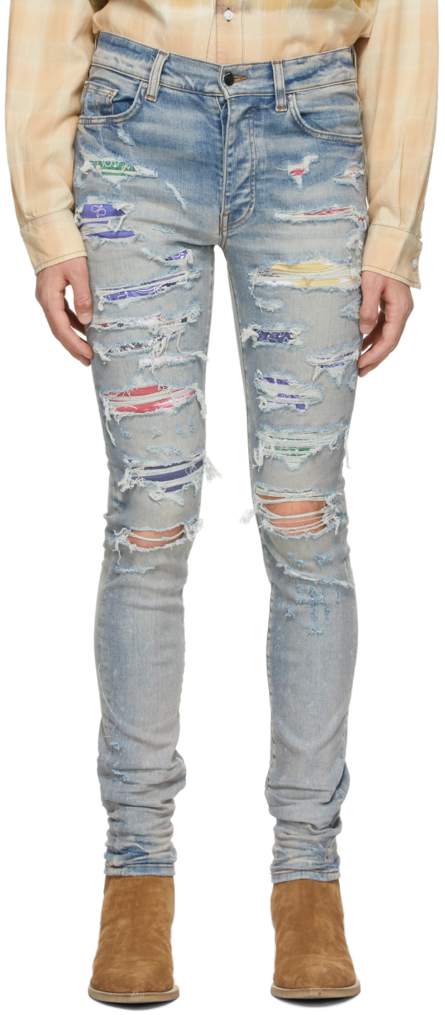 AMIRI Indigo Rainbow Patch Jeans