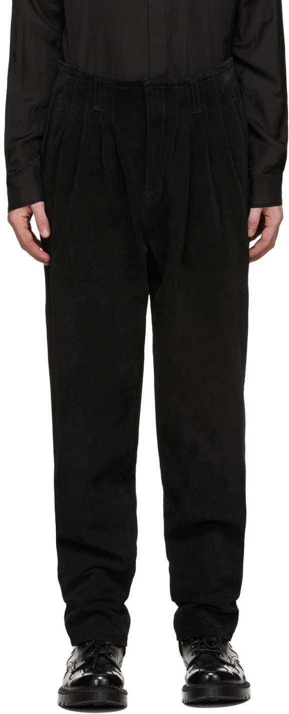 Black Suede Pleated Trousers