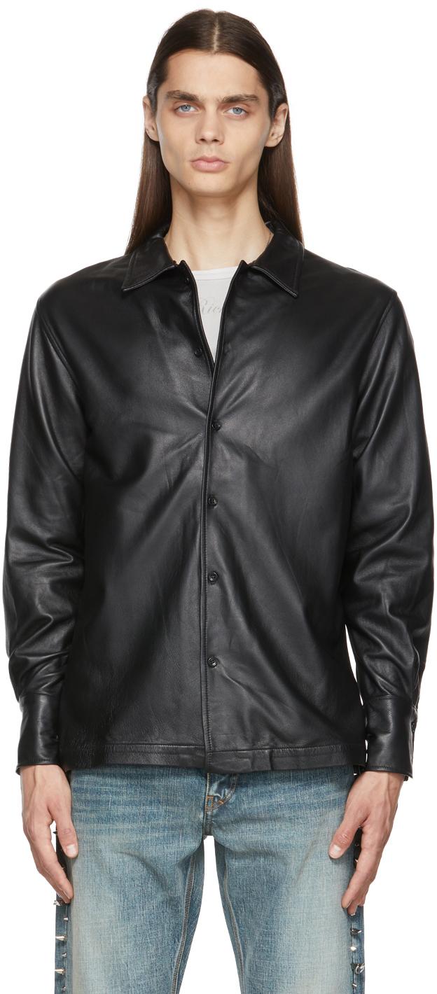 Black Leather Button-Down Shirt Jacket