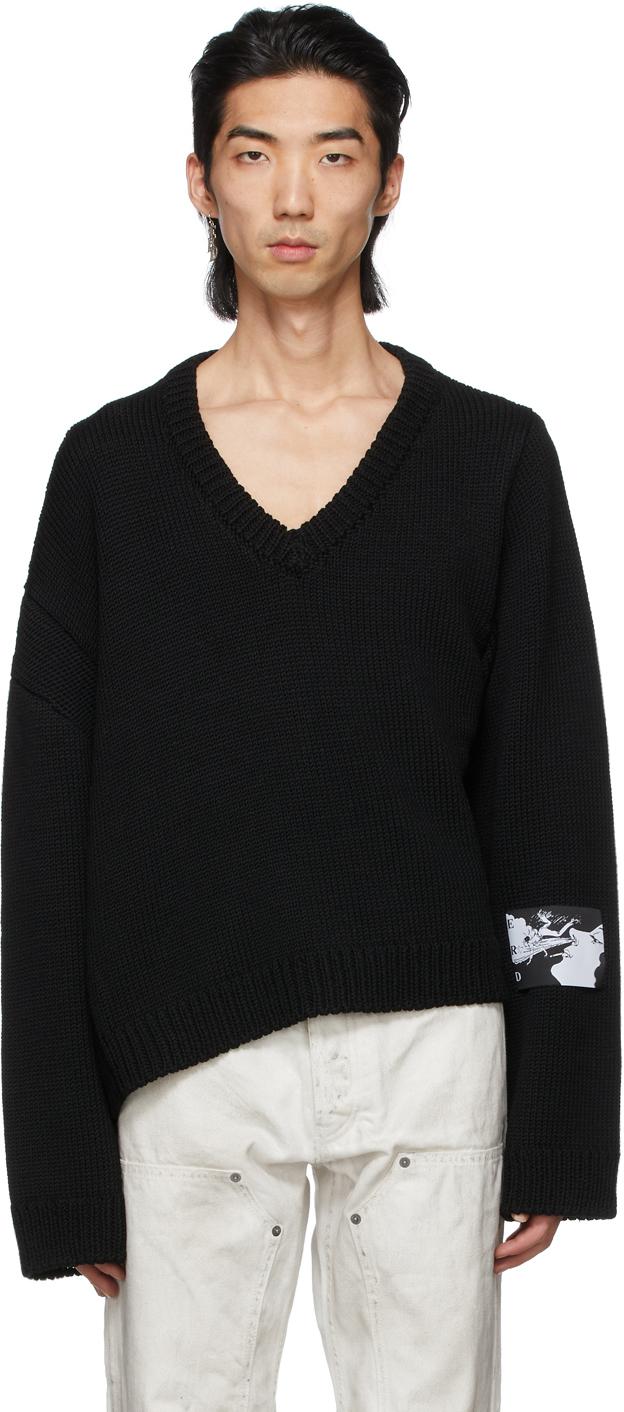 Black Label Patch Asymmetrical Sweater