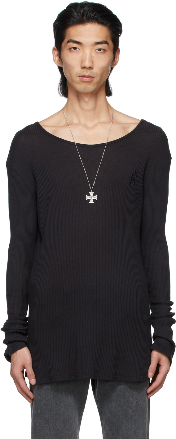 Black Fitted Logo Long Sleeve T-Shirt