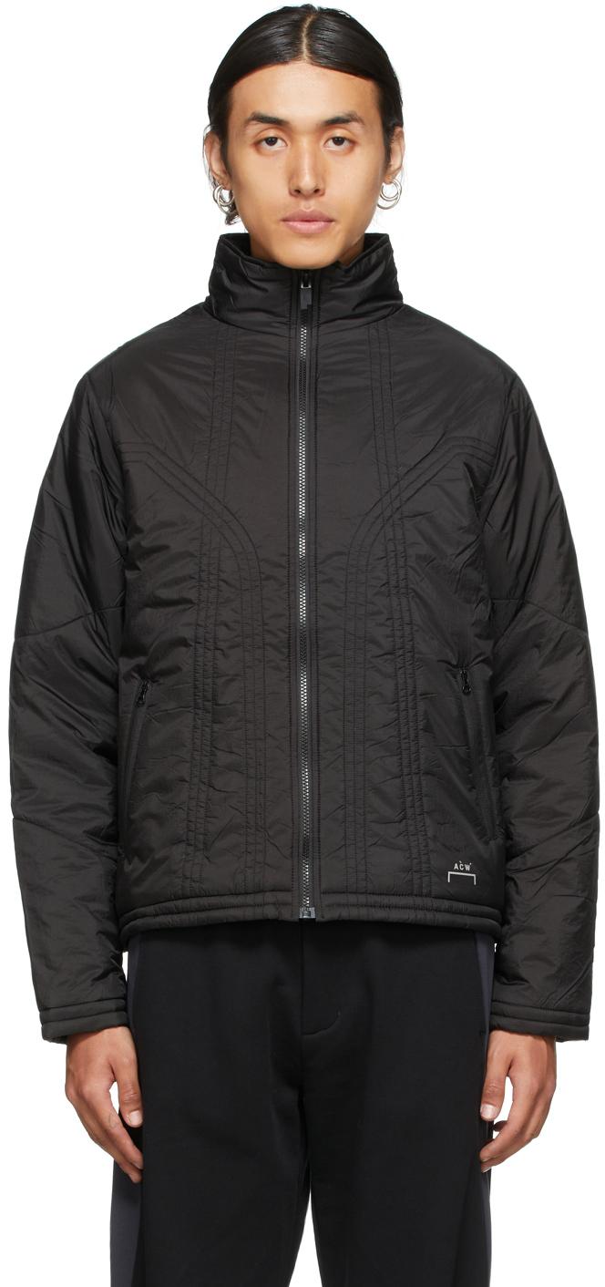 * Black Crinkle Puffer Jacket