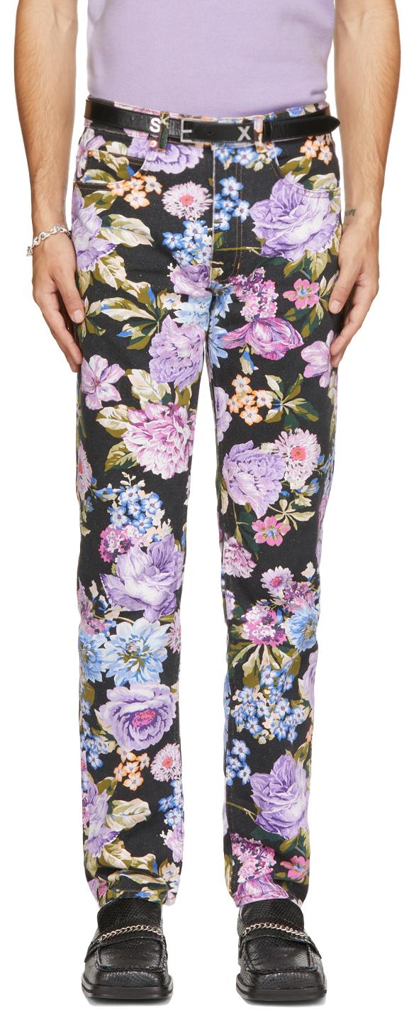 Black & Multicolor Floral Ronnie Jeans