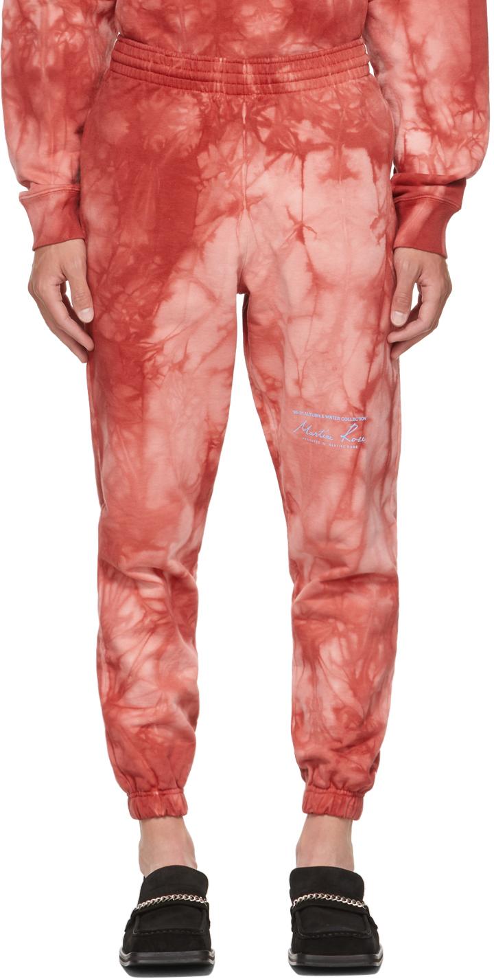 Red Tie-Dye Slim Logo Sweatpants