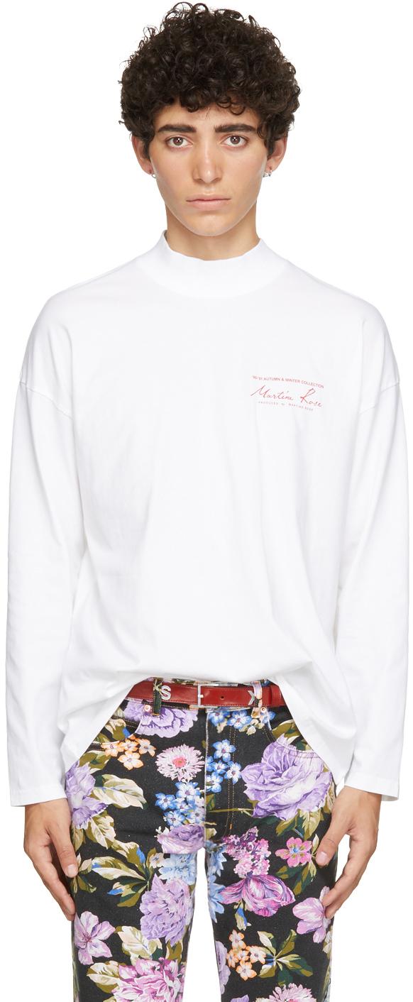 White Funnel Neck Logo Long Sleeve T-Shirt