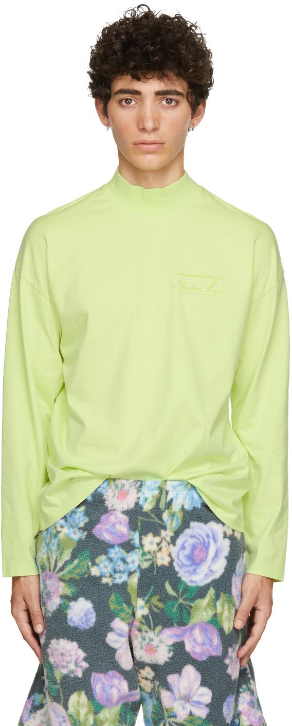 Green Funnel Neck Logo Long Sleeve T-Shirt