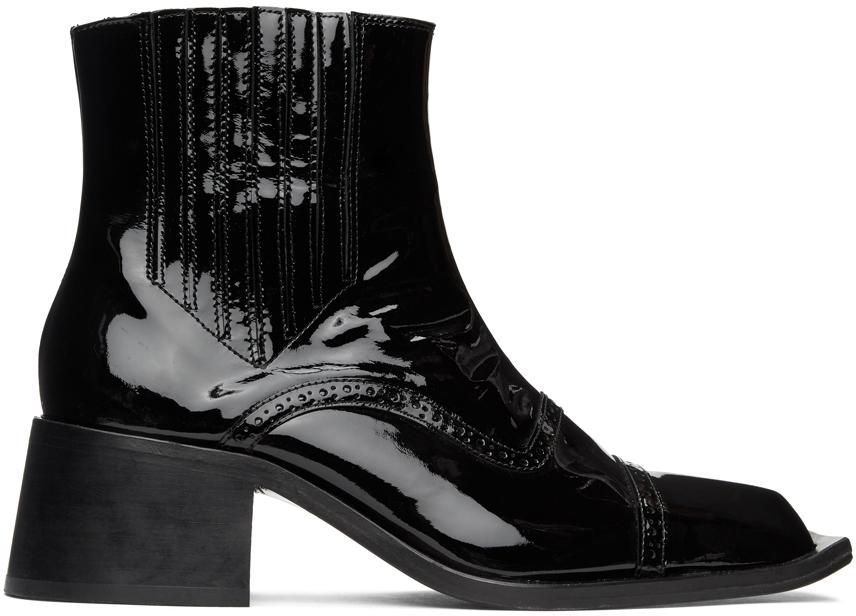 Black Patent Cream Chelsea Boots