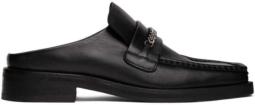 Black Loafer Mules