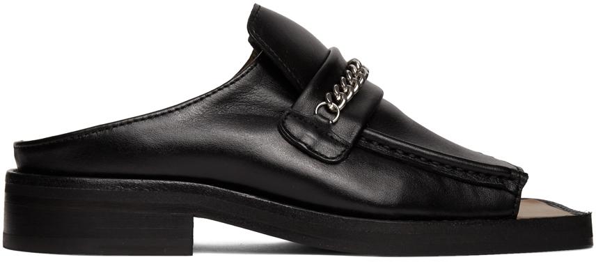 Black Open Toe Loafers