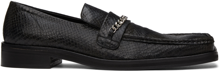 Black Snake Square Toe Loafers
