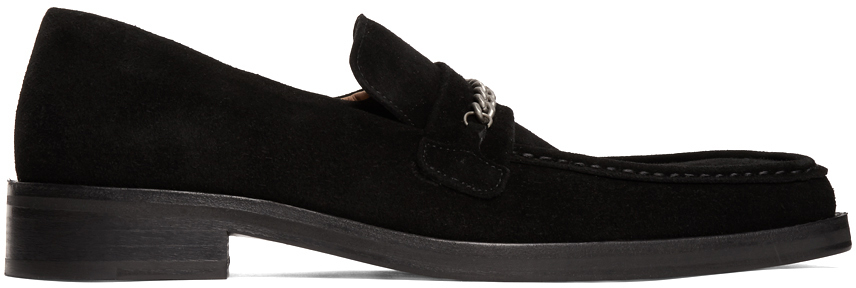 Black Suede Square Toe Loafers