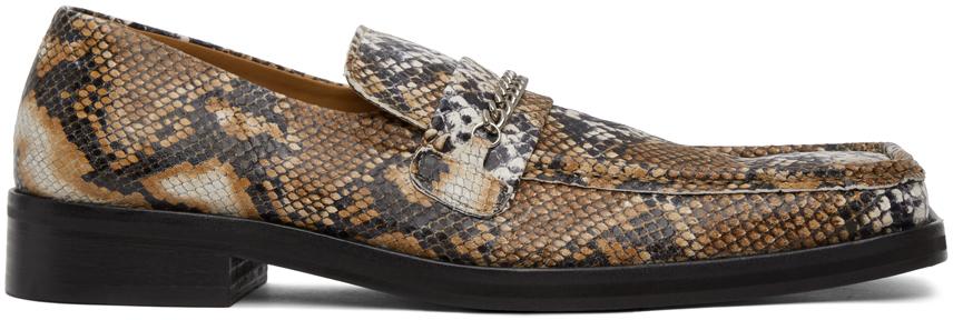 Martine Rose Beige Snake Square Toe Loafers