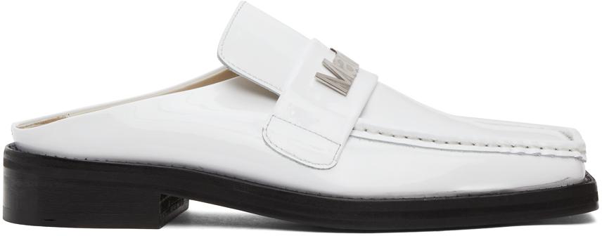 SSENSE Exclusive White Patent Martine Loafers