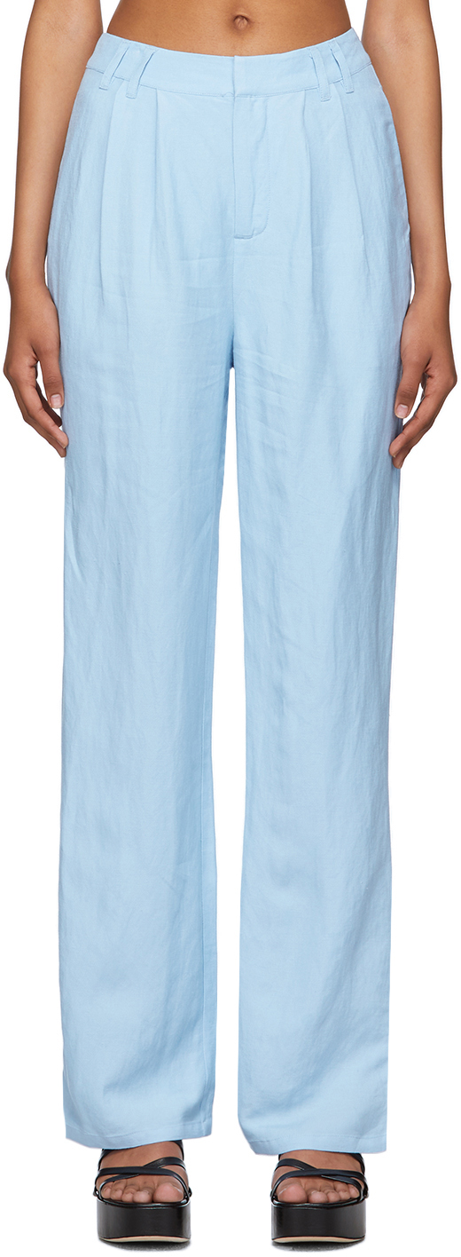 Blue Linen Classic Trousers