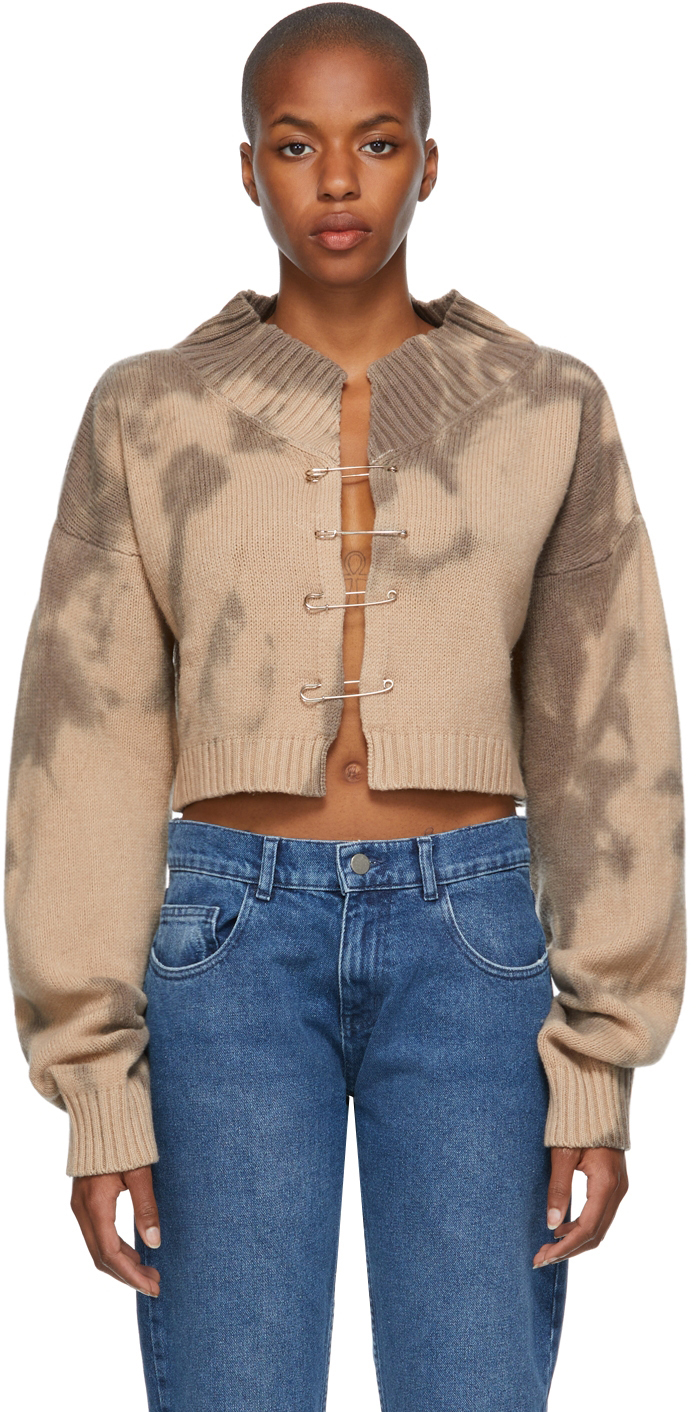 Brown Tie-Dye Knit Safety Pin Cardigan