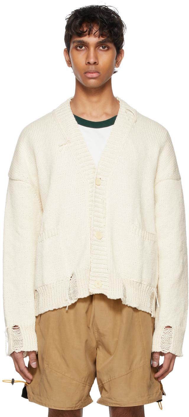 Rhude SSENSE 独家发售米色手工针织开衫