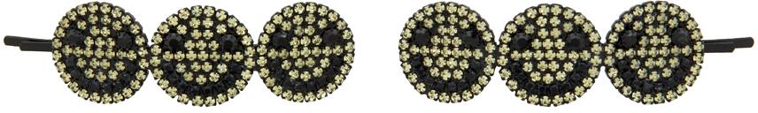 Black & Yellow Smiley Hair Pins