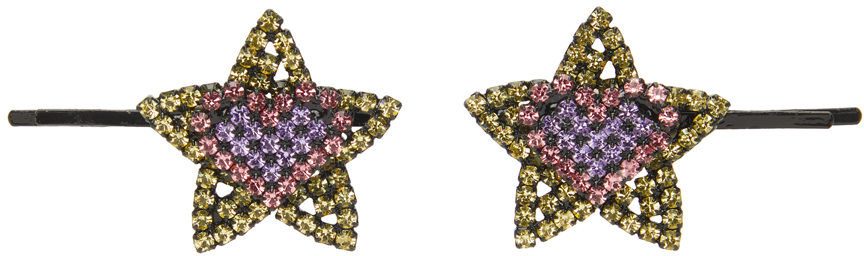 Yellow & Pink Star Heart Hair Clips