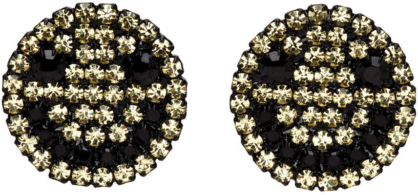 Black & Yellow Smiley Clip-On Earrings